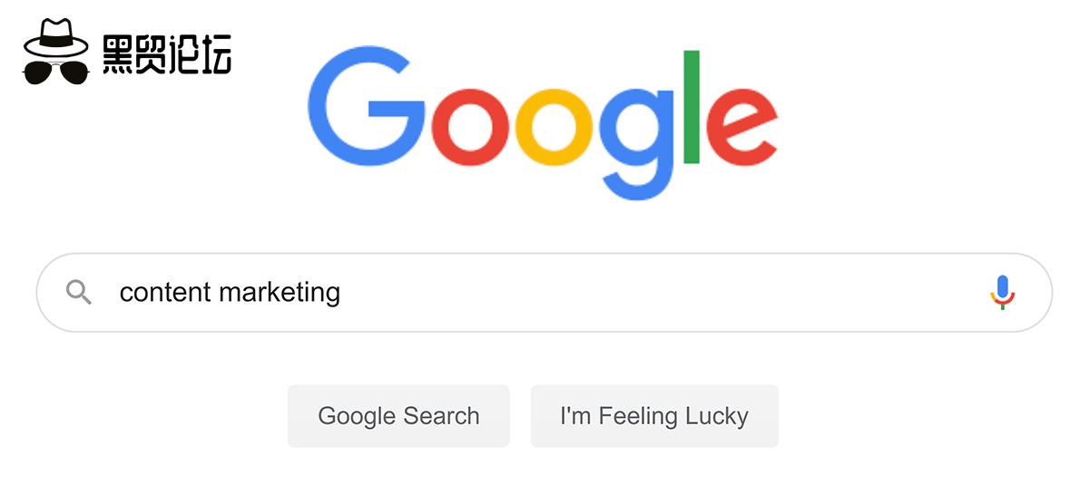 """谷歌搜索——""""内容营销"""""""