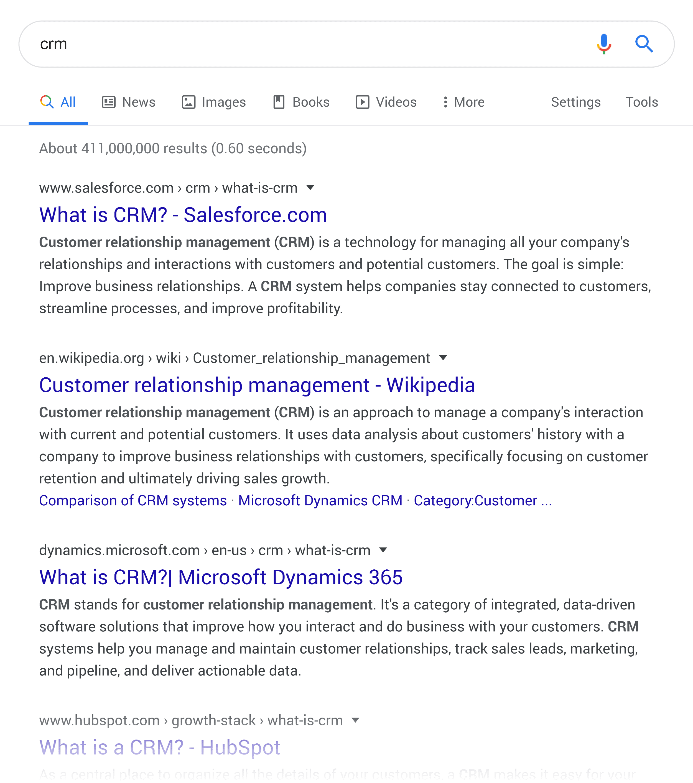 """谷歌 SERP——""""客户关系管理"""""""