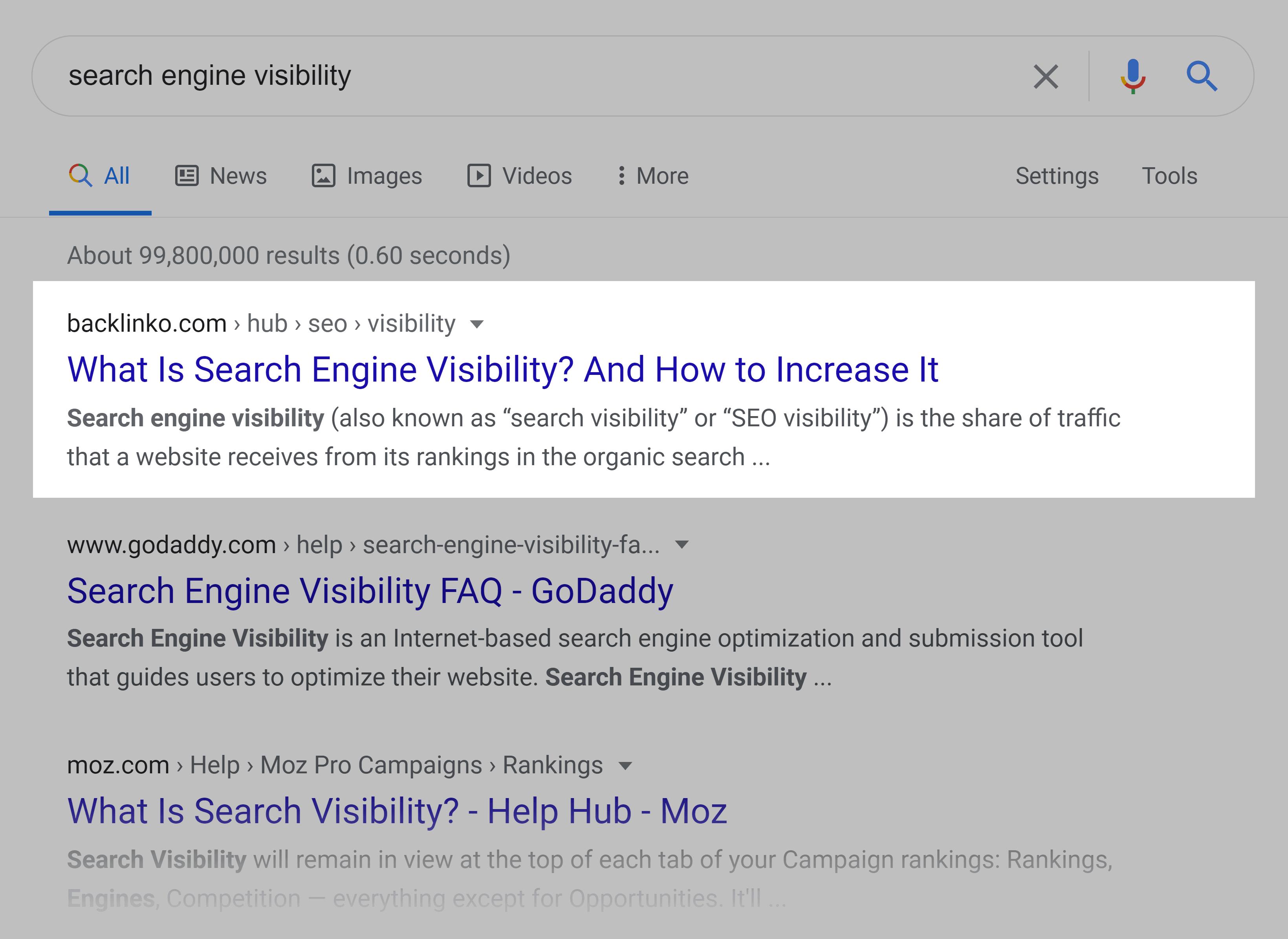Google SERP – 搜索引擎可见性