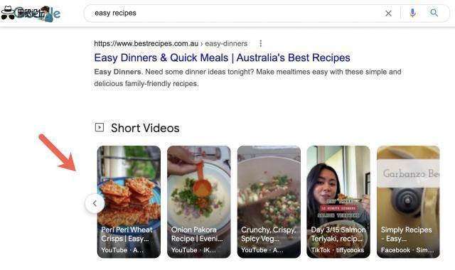 谷歌在桌面结果上测试短视频